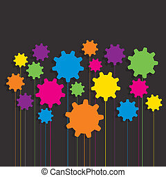 Patrón de engranajes colorido creativo