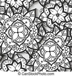 Patrón de flor blanco y negro