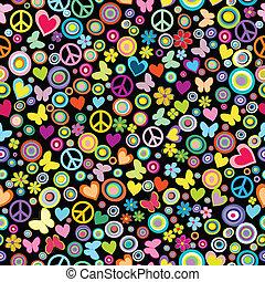 Patrón de flores, círculos, corazones, traseros y señales de paz