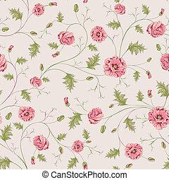 Patrón de flores de amapola