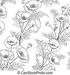 Patrón de flores de amapola en un fondo blanco.