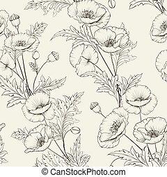 Patrón de flores de amapola en un fondo gris.