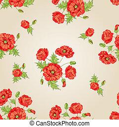 Patrón de flores de amapola.