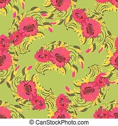 Patrón de flores de amapola sobre fondo verde. Ilustración de vectores.