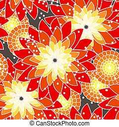 Patrón de flores inservible en tonos naranjas