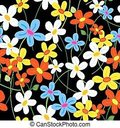 Patrón de flores sin costura sobre negro