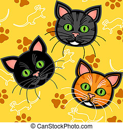 Patrón de gatos de dibujos animados sobre amarillo