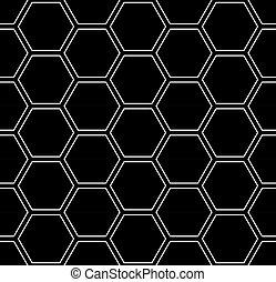 Patrón de hexágonos sin daños. Fondo geométrico negro.