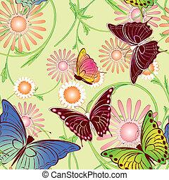 Patrón de mariposa floral sin nada