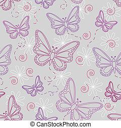 Patrón de mariposa inservible en gris