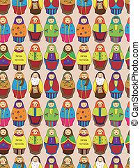 Patrón de muñecos rusos