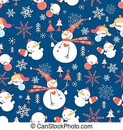 Patrón de Navidad con muñecos de nieve