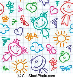 Patrón de niño dibujado a mano