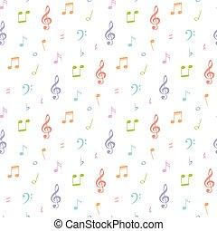 Patrón de notas musicales sin costura y ilustración de vectores de fondo