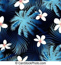 Patrón de palma tropical sin costura con fondo negro