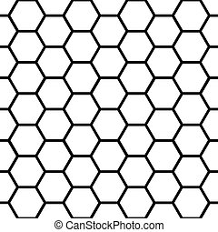 Patrón de panal negro sin semen sobre blanco