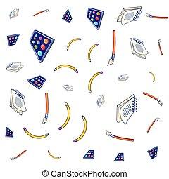Patrón de pinturas de paleta con pinceles y cuadernos