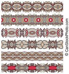 Patrón de rayas de estampado floral sin costura, rayas fronterizas, ukrai