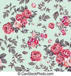 Patrón de rosas sin costura