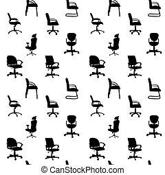 Patrón de sillas de oficina, siluetas de vector de ilustración