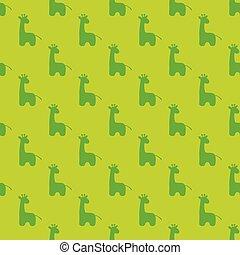 Patrón de silueta verde de jirafa de dibujos animados