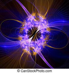 Patrón de una red y luces brillantes. Generación de computadoras