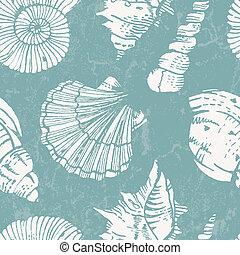 Patrón de vector con cáscaras de mar
