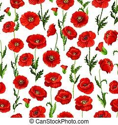 Patrón de vectores de flores de amapola