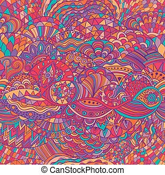 Patrón de vectores, fondo abstracto con adorno colorido. Ilustración de mano, zentángulo de color de libros. Motif de algas marinas