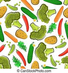 Patrón de vegetales frescos sin costura
