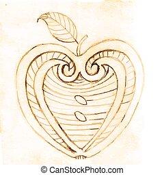 Patrón decorativo de manzana