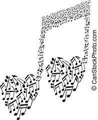 patrón del corazón, notas musicales, forma