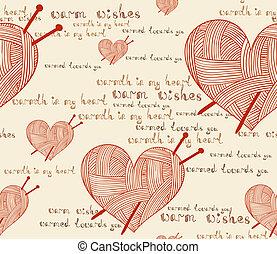 patrón del corazón, tejido de punto, clew, seamless, aguja