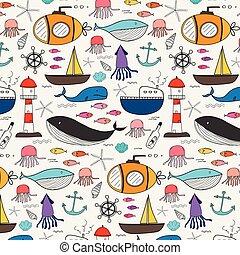 Patrón dibujado a mano con fondo marino. Ilustración de vectores.