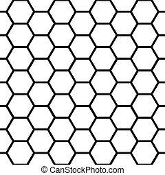 patrón, encima, seamless, negro, blanco, panal