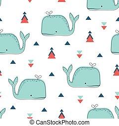 patrón, escandinavo, estilo, seamless, ballenas