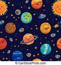 Patrón espacial sin capas con planetas, estrellas y cometas.