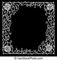 Patrón estilizado con rosas negras y curvas.