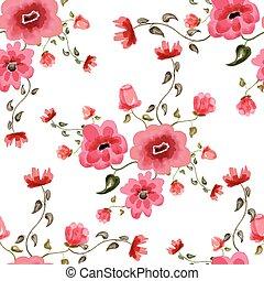 Patrón floral acuarela sin costura