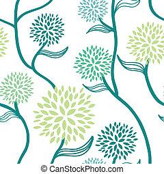 Patrón floral azul blanco verde