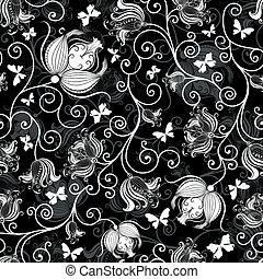 Patrón floral blanco-negro