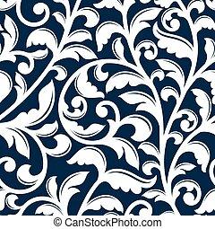 Patrón floral blanco ornamental sin costura
