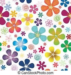 Patrón floral blanco sin costura