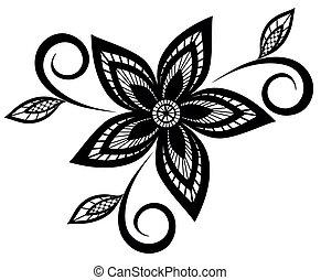 Patrón floral blanco y negro