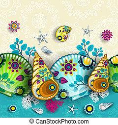 patrón, floral, conchas