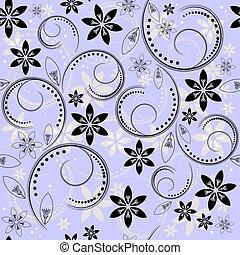 Patrón floral de color azul y blanco