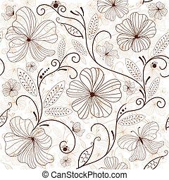 Patrón floral de color marrón blanco
