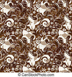 Patrón floral de color marrón y blanco