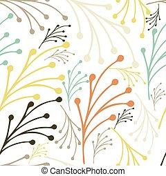 Patrón floral dibujado a mano con hojas. Verano, primavera, patrones florales, ilustración de vectores