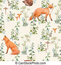 patrón floral, hermoso, plantas, acuarela, animals., bosque, illustration., seamless, acción